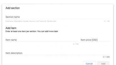 Google My Business a extins editorul de meniuri pentru a suporta meniurile de servicii