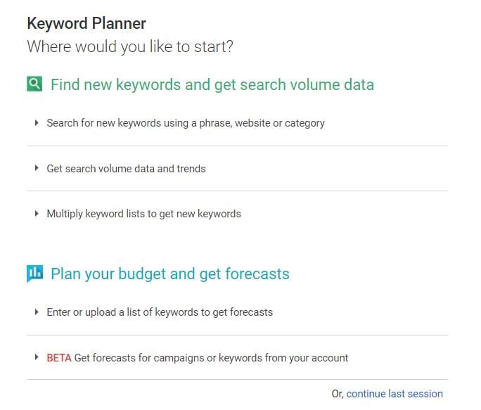Keyworld planner